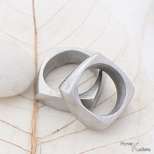 Kované snubní prsteny damasteel  - Kumali
