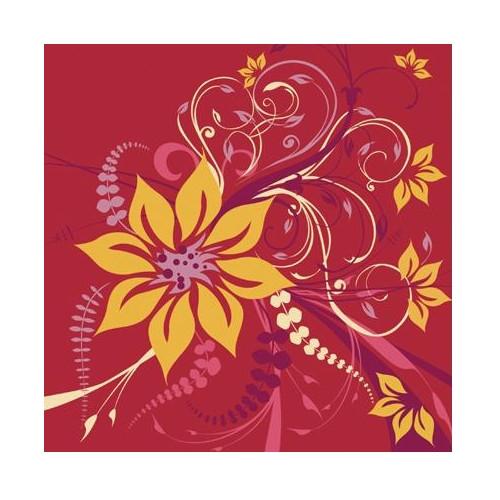 Ubrousek na decoupage červený se žlutou květinou