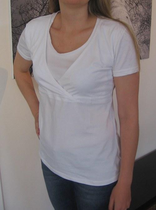 Diskrétní kojící tričko bílé - velikost XXL