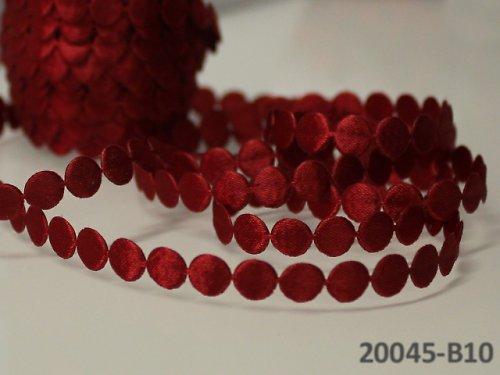 20045-B10 Prýmek saténový ČERVENÁ kolečka, á 0,5m