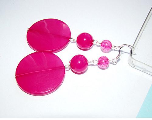 extra dlouhé náušnice - růžové placky