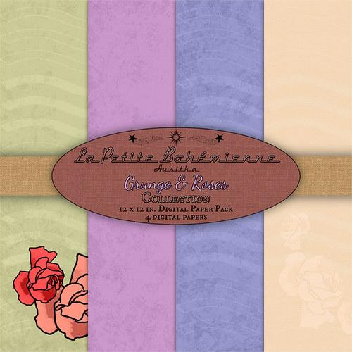 Scrapbook papíry Grunge & Roses - ScP0003
