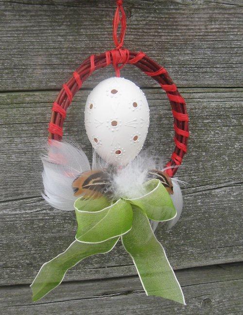 Dekorace kachní vejce- madeira-bílý vosk