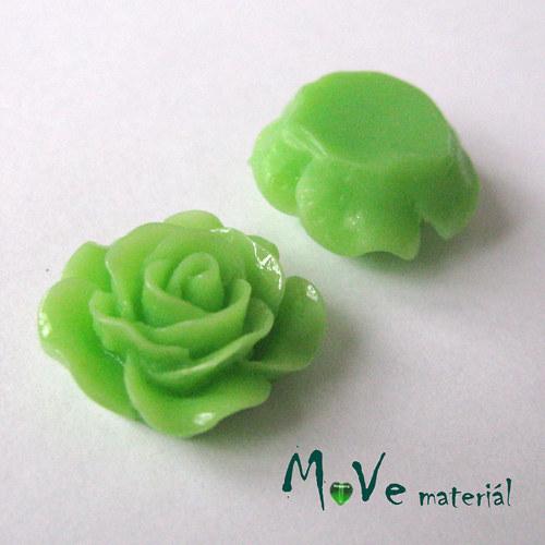 Kabošon růžička lesklá D3 - resin - 2ks, zelená