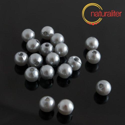 Voskované perly, stříbrné, 8mm, 50ks