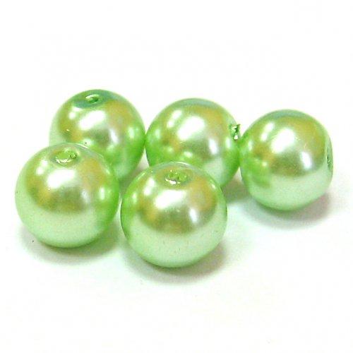 Perly voskové - 8 mm - zelená - 10 ks
