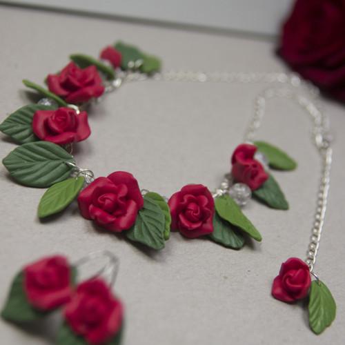 Náhrdelník a náušnice - Rudé růže