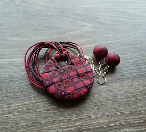 Černo-růzovo-červený náhrdelník + náušnice