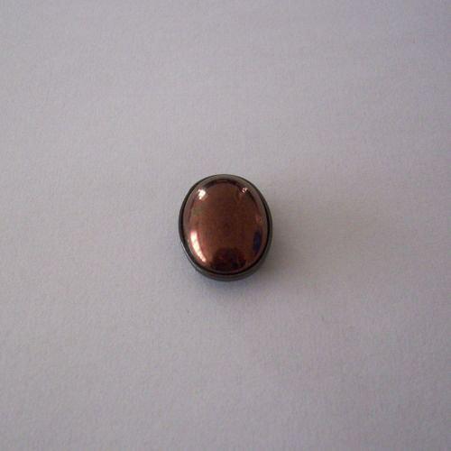 Skleněný kabošon v kotliku 5 direk - tmavý bronz