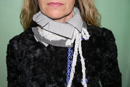 Šedobílá elegance-nákrčník jinak-SLEVA na půl