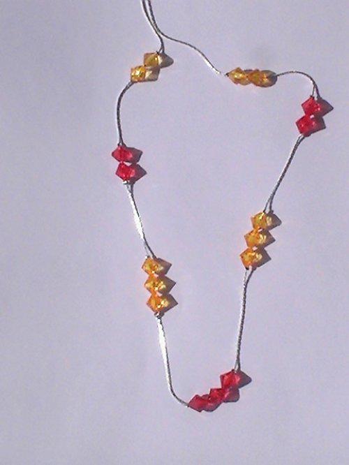 Sleva - Červeno žlutý náhrdelník