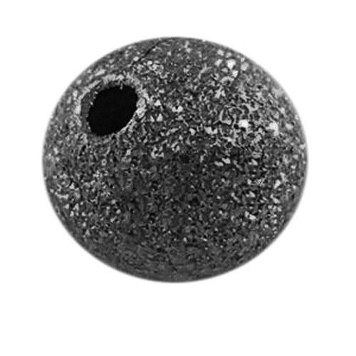 kovový korálek hvězdný prach/ černá/ 6mm/10ks