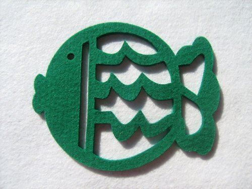 Výsek z plsti - kapr tm.zelený