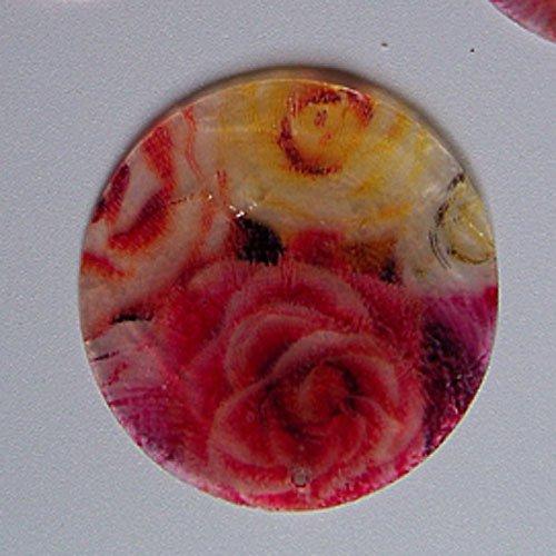 Perleťové malované kolečko tenké, 5 cm, růže