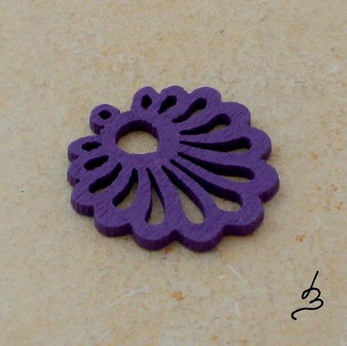 Dřevěný vějířek fialový - 4 ks
