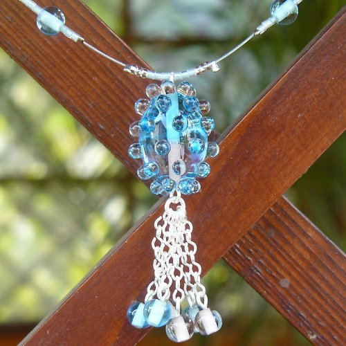 Náhrdelník dvoubarevná oliva - modro - růžová