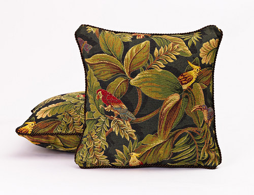 Polštář s motivem exotického ptactva, 40 x 40 cm