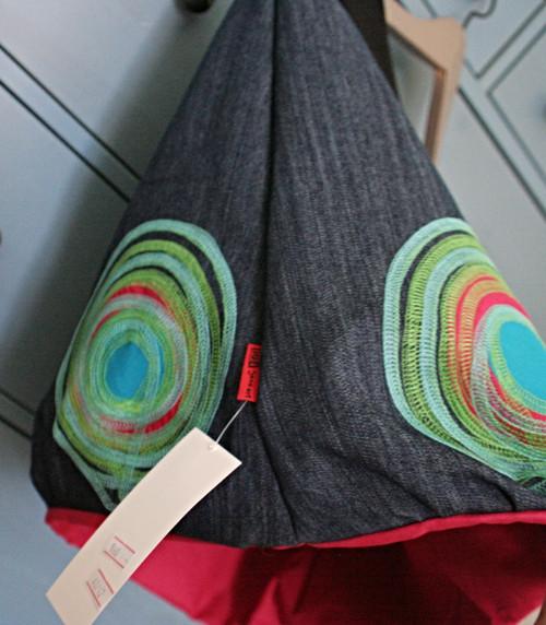 ...džínová balónová sukně ... fuchsiová podšívka