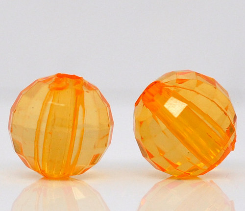 korálky kuličky/ akryl/ oranžové/ 8mm/ 10ks