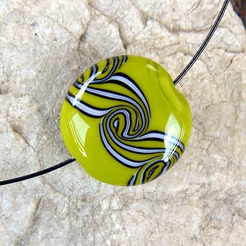 Náhrdelník - velká točená lentilka - zelená