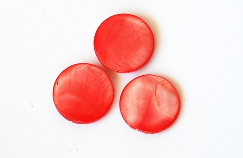 perleťové kolečko 20mm- červenooranžovorůžové