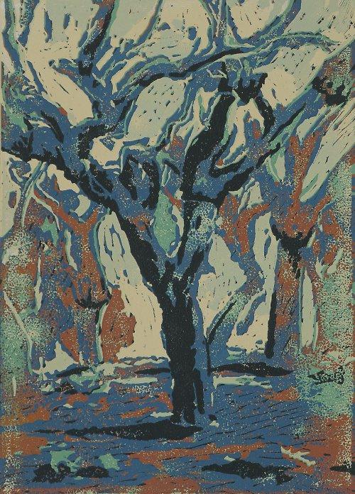 Korkové duby, Portugalsko- šestibarevný linoryt