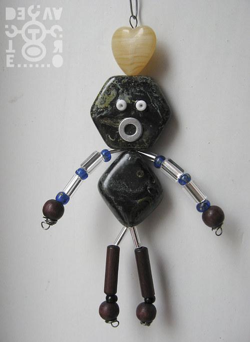 Korálkový robot, model 07-01, (Srdcař Ó), 9 cm