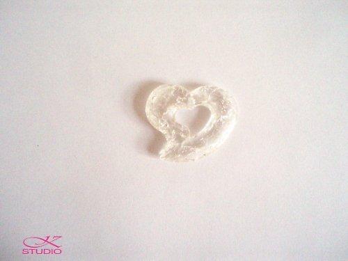Přívěsek KRAKL plast 38x43mm srdce bílé