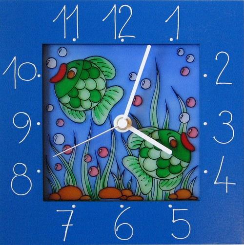 Rybičky - hodiny v rámu 25cm