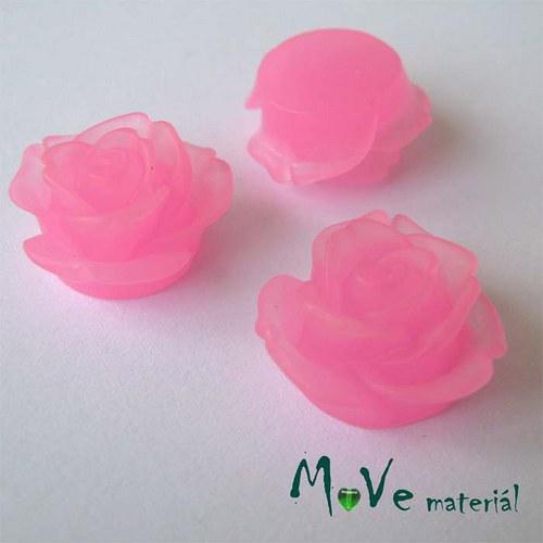 Kabošon květ průsvitný A2- resin - 2ks, sv. růžová