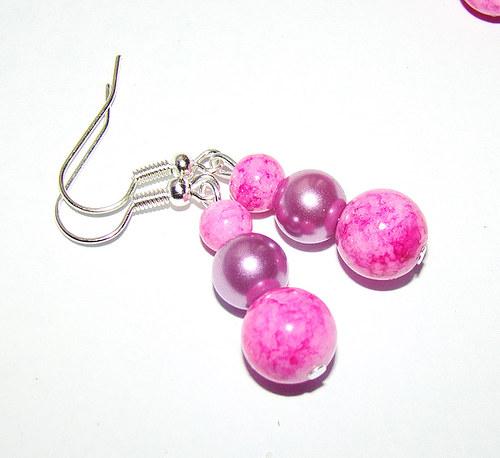 náušnice  mramorové kuličky s perličkami