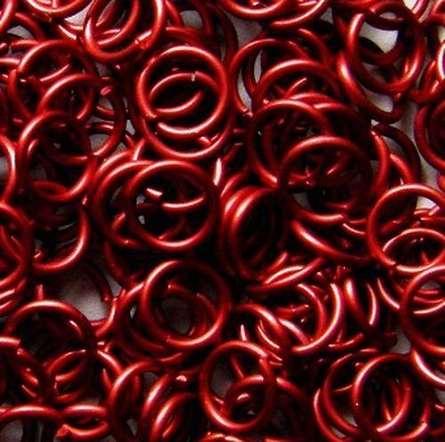 kroužky eloxovaný hliník 5/1,2 červená 100ks