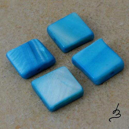 Perleťový čtverec tyrkysový - 4 ks