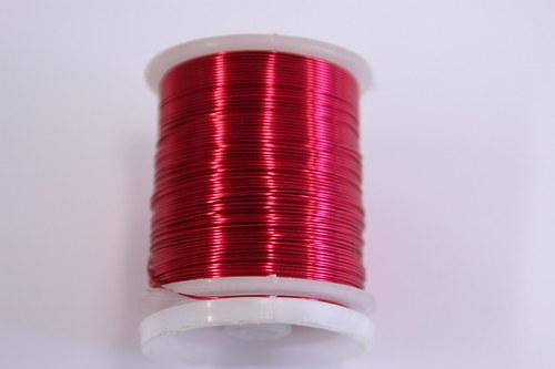 Měděný drátek 0,5mm - růžovo-červený, návin 19-21m