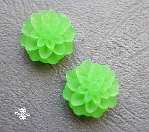 Kabošon chryzantéma,  zelený  - 2ks