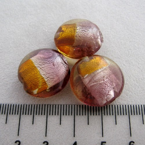 vinutá perla čočka 20mm, topaz-light ametyst