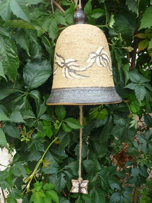 Keramický zvon - motýli-15cm