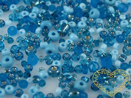 Modrý mix - skleněné korálky - balení 50 g