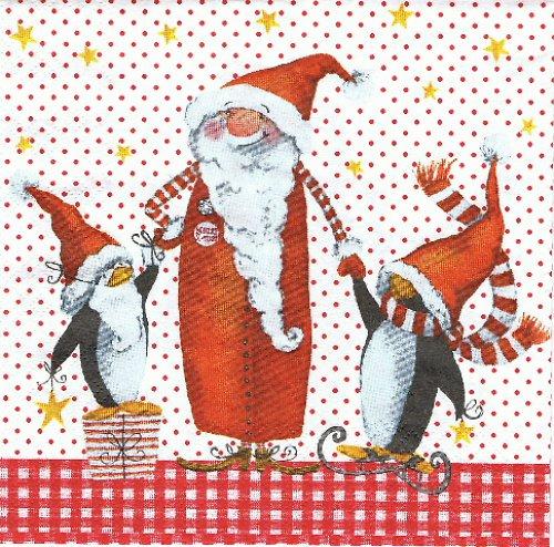 VM 074 - ubrousek 33x33 - tučňáci +santa