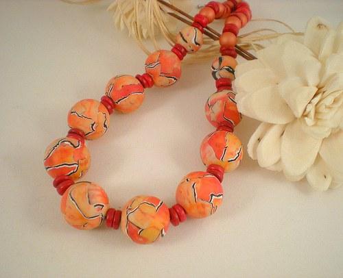 Korále Šťavnaté oranžovočervené...