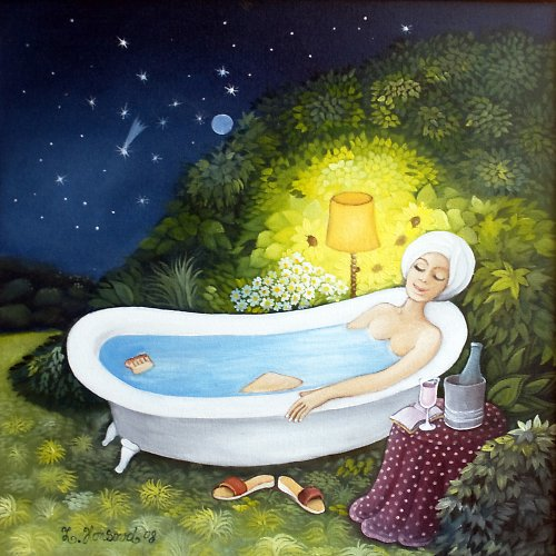 Ve vaně na zahradě