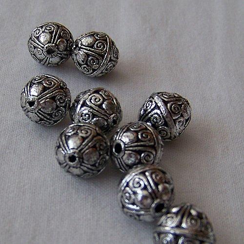 korálekakryl/ ant.stříbro/ 10x12mm/ 1ks