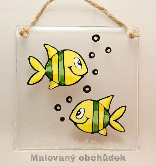 Skleněný obrázek s prouhatými rybkami