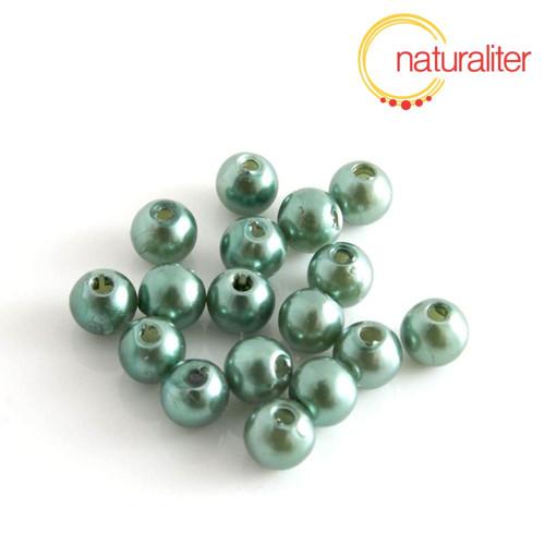 Voskované perly, tmavě zelené, 6mm, 50ks