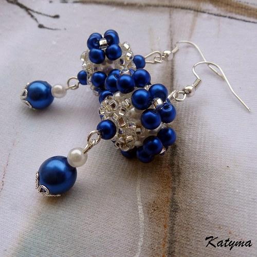 Náušnice s modrými květy