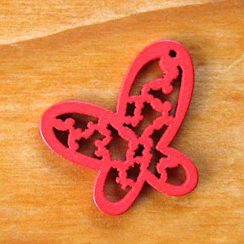 Dřevěný Motýlek - 2ks - Červený