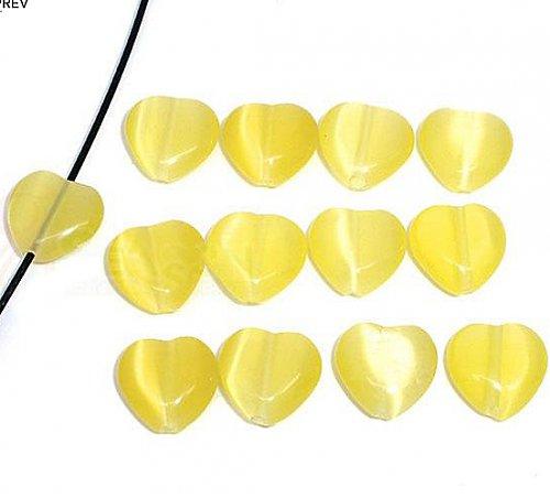 srdce-kočičí oko /žluté / 12mm/ 2ks