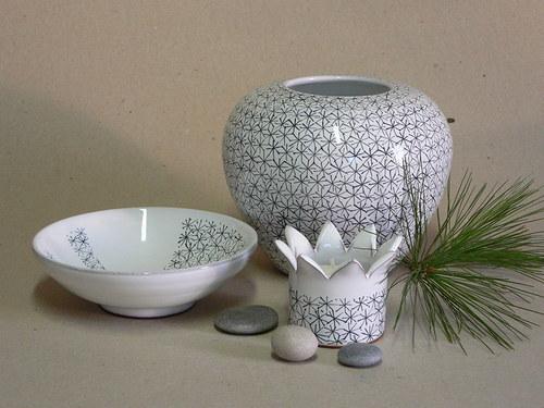 Souprava - váza,miska,svícen - hvězdičky