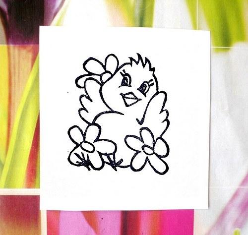 Kuřátko v květinách... Omyvatelné razítko.