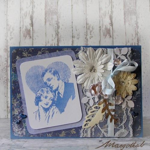 Pár v modré-  svatební přáníčko
